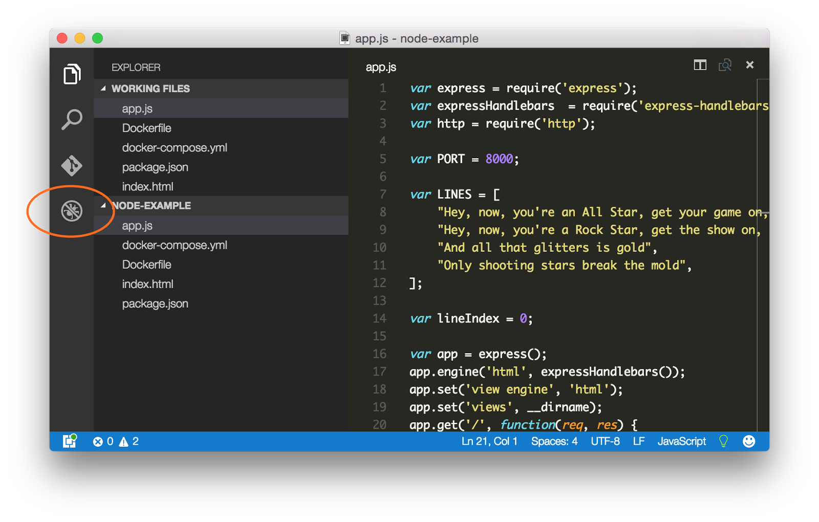Image of VS Code with debugger icon highlighted