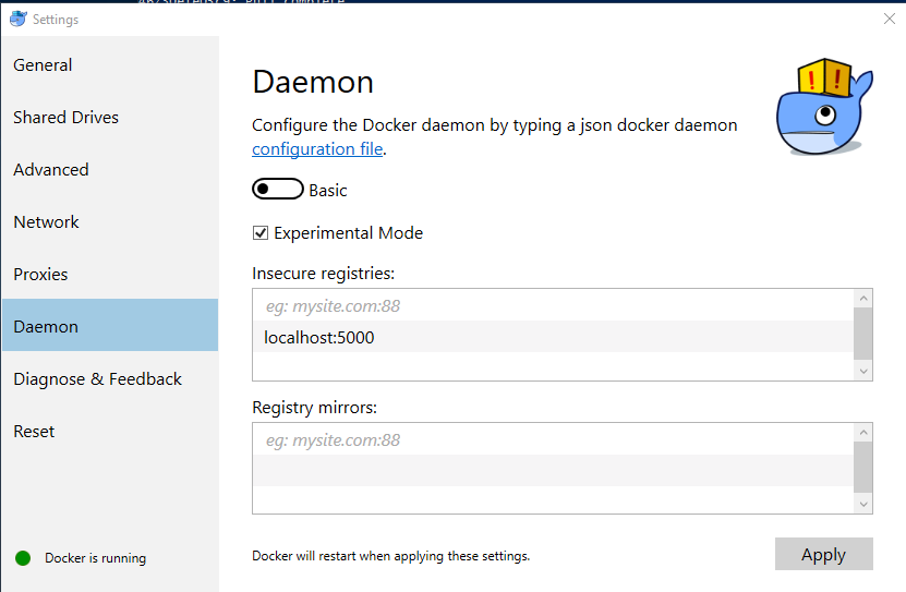 in docker for windows the settings menu lets you set the address for an insecure registry under the daemon panel - Registry