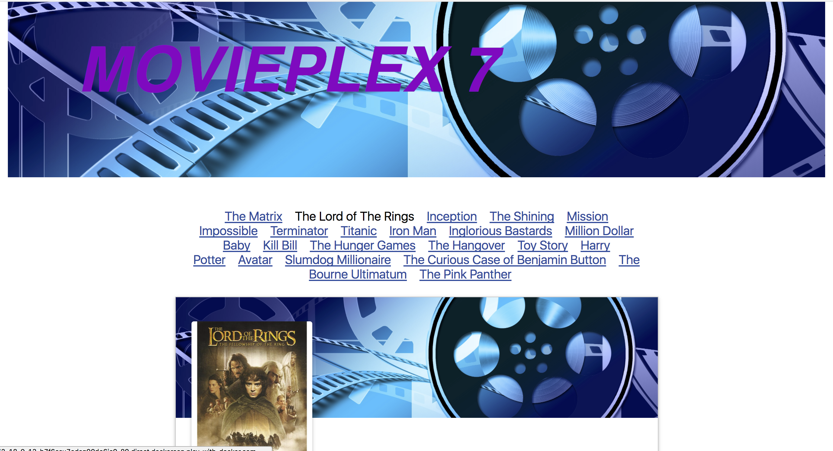 Movieplex7 App with a React JS client displaying movie posters